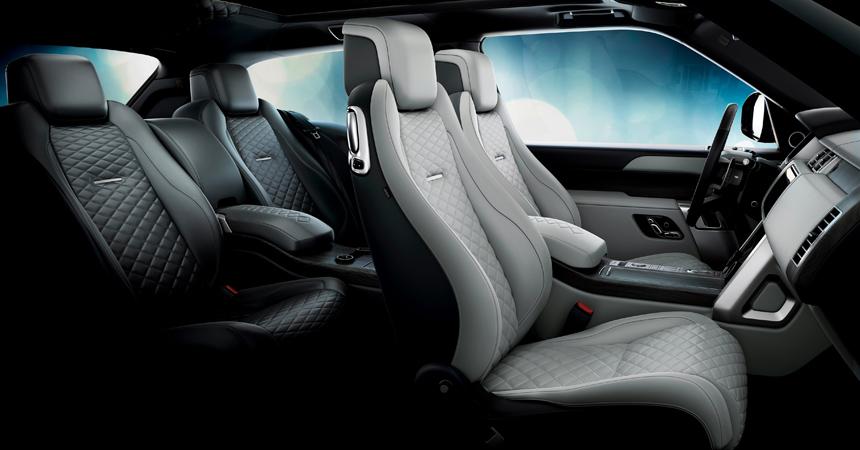 Интерьер Range Rover SV Coupe с ромбовидной строчкой на сидениях